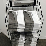 Mira Mexico installation for the 2013 Sondheim Prize Exhibition at The Walter's Art Museum in Baltimore Maryland. Newspapers on a rack for visitors to the museum to take away and hang in public.<br /> (Credit Image: © Louie Palu/ZUMA Press)