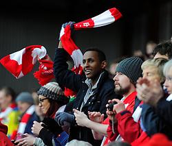 Fan with Scarf  - Photo mandatory by-line: Joe Meredith/JMP - Mobile: 07966 386802 - 25/01/2015 - SPORT - Football - Bristol - Ashton Gate - Bristol City v West Ham United - FA Cup Fourth Round