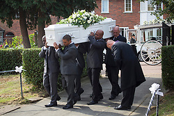 © licensed to London News Pictures. London, UK 27/09/2013. Body of Sabrina Moss being taken to her funeral at St Alphage Church in Burnt Oak, north London on Friday, 27 September 2013. Nursery teacher Sabrina Moss was shot dead in Kilburn while out celebrating her 24th birthday on Saturday 24 August 2013. Photo credit: Tolga Akmen/LNP