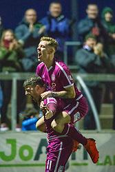 Arbroath's Bobby Linn cele scoring their second goal. Forfar Athletic 2 v 3 Arbroath, Scottish Football League Division One played 8/12/2018 at Forfar Athletic's home ground, Station Park, Forfar.