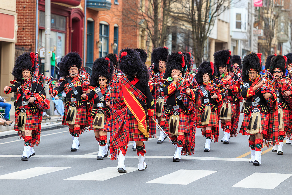 York, PA - March 12, 2016 The Kiltie Band of York entertains the gathered crowd at the annual Saint Patrick's Day Parade.