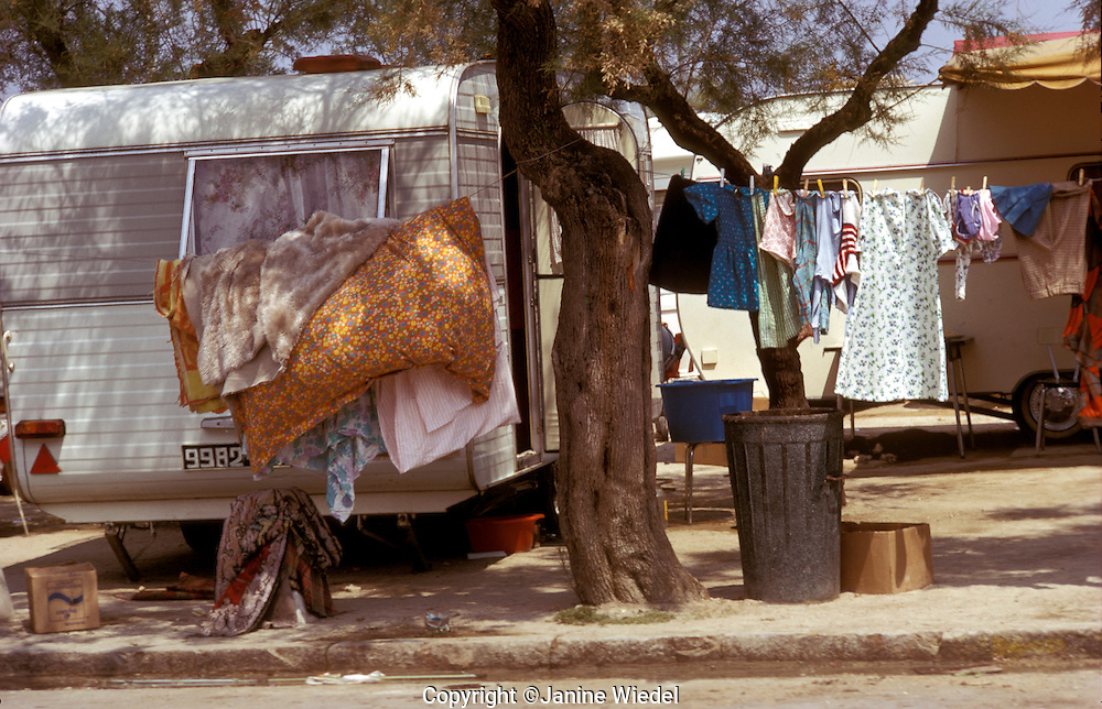 Gypsies from all over Europe gather at the festival of Sainta Marie de la Mere in the Camargue an annual event in the South of France .