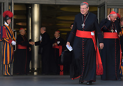 File photo - Cardinal George Pell (Australia) arrives at the synod on themes of family, sex and marriage at the Vatican on October 15, 2014. Cardinal George Pell has been found guilty of sexual offences in Australia, making him the highest-ranking Catholic figure to receive such a conviction. Pell abused two choir boys in the rooms of a Melbourne cathedral in 1996, a jury found. He had pleaded not guilty. The verdict was handed down in December, but it could not be reported until now due to legal reasons. Pell is due to face sentencing hearings from Wednesday. He has lodged an appeal against his conviction.. Photo by Eric Vandeville/ABACAPRESS.COM