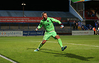 Football - 2018 / 2019 EFL Carabao Cup (League) Cup - First Round: Macclesfield Town vs. Bradford City<br /> <br /> Rhys Taylor of Macclesfield Town celebrates saving a penalty at Moss Rose.<br /> <br /> COLORSPORT/LYNNE CAMERON