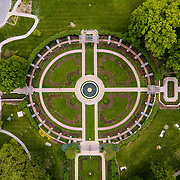 Drone aerial photograph of the rose garden area at Loose Park, Kansas City, Missouri. May 2021.