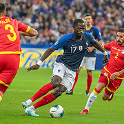 PARIS, FRANCE - September 10:  Moussa Sissoko #17 of France defended by Cristian Martínez #2 of Andorra and Marc Vales #3 of Andorra during the France V Andorra, UEFA European Championship 2020 Qualifying match at Stade de France on September 10th 2019 in Paris, France (Photo by Tim Clayton/Corbis via Getty Images)