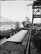 """Ackroyd 03295-07. """"West Coast Trans-Oceanic Steamship. Dock at Swan Island. Hiram Maxim."""" (Maxim is the ship) """"All photographs made Thursday, December Sixth 1951 by Everett F. Chandler and Hugh S. Ackroyd, of Ackroyd Photography Inc."""" """"Looking east showing repair work to dock. Repairs done after December 4th, 1951."""""""