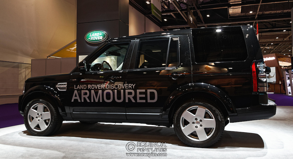 London, United Kingdom - 18 September 2015<br /> Land Rover display their new armoured vehicles, the £300,000 Range Rover Sentinel and the £160,000 Land Rover Discovery Sentinel which is set to be the new standard for UK government vehicle protection, at the defence and security exhibition DSEI at ExCeL, Woolwich, London, England, UK.<br /> (photo by: EQUINOXFEATURES.COM)<br /> <br /> Picture Data:<br /> Photographer: Equinox Features<br /> Copyright: ©2015 Equinox Licensing Ltd. +448700 780000<br /> Contact: Equinox Features<br /> Date Taken: 20150918<br /> Time Taken: 14160319<br /> www.newspics.com