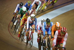 Great Britain's Oliver Wood (centre) during the Mens 40km Points Race during day four of the 2018 European Championships at the Sir Chris Hoy Velodrome, Glasgow.