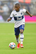 May 16, 2021 - Kansas City, KS, United States:    Vancouver Whitecaps forward Deiber Caicedo (7) brings the ball downfield. Sporting KC beat the Vancouver Whitecaps FC 3-0 in a Major League Soccer game. <br /> Photo by Tim Vizer/Polaris