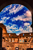 """Dramatic clouds gather through the Arch of the Colosseum""...<br />