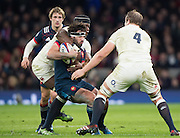 Twickenham, United Kingdom. Remy LAMERAT, tackled by Maro ITOJE and Joe LAUNCHBURY, during the  RBS. Six Nations : England   vs France  at the  RFU Stadium, Twickenham, England, <br /> <br /> Saturday  04/02/2017<br /> <br /> [Mandatory Credit; Peter Spurrier/Intersport-images]