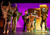 """Simba (Jesse Powers) is caught up in a stampede of bewildebeasts during dress rehearsal for Gilford Middle School's production of """"The Lion King"""" Monday afternoon.  (Karen Bobotas/for the Laconia Daily Sun)"""
