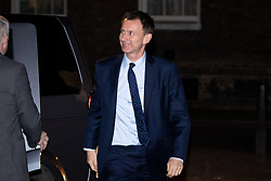 © Licensed to London News Pictures. 07/01/2019. London, UK. Foreign and Commonwealth Secretary Jeremy Hunt arriving in Downing Street to attend a drinks reception in Number 10. British Prime Minister Theresa May is currently trying to persuade MPs to back her Brexit withdrawal deal. MPs will be debating the issue this week, with the postponed vote taking place on Tuesday 15th January. Photo credit : Tom Nicholson/LNP