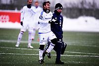 Fotball<br /> Tippeligaen<br /> Sandvika Stadion Kadattangen  26.01.13<br /> Bærum - Vålerenga VIF<br /> Mohamed Fellah går ned og ut med skade , Eirik Bjærke<br /> Foto: Eirik Førde