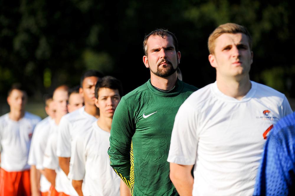 Sept. 11, 2012; Morrow, GA, USA; Clayton State men's soccer player Matt Sutton against Newberry at CSU. Photo by Kevin Liles/kdlphoto.com