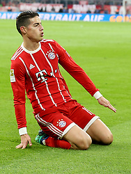 31.03.2018, Allianz Arena, Muenchen, GER, 1. FBL, FC Bayern Muenchen vs Borussia Dortmund, 28. Runde, im Bild James Rodriguez (FC Bayern Muenchen #11) Jubel nach dem 2:0 // during the German Bundesliga 28th round match between FC Bayern Munich and Borussia Dortmund at the Allianz Arena in Muenchen, Germany on 2018/03/31. EXPA Pictures © 2018, PhotoCredit: EXPA/ Eibner-Pressefoto/ Harry Langer<br /> <br /> *****ATTENTION - OUT of GER*****