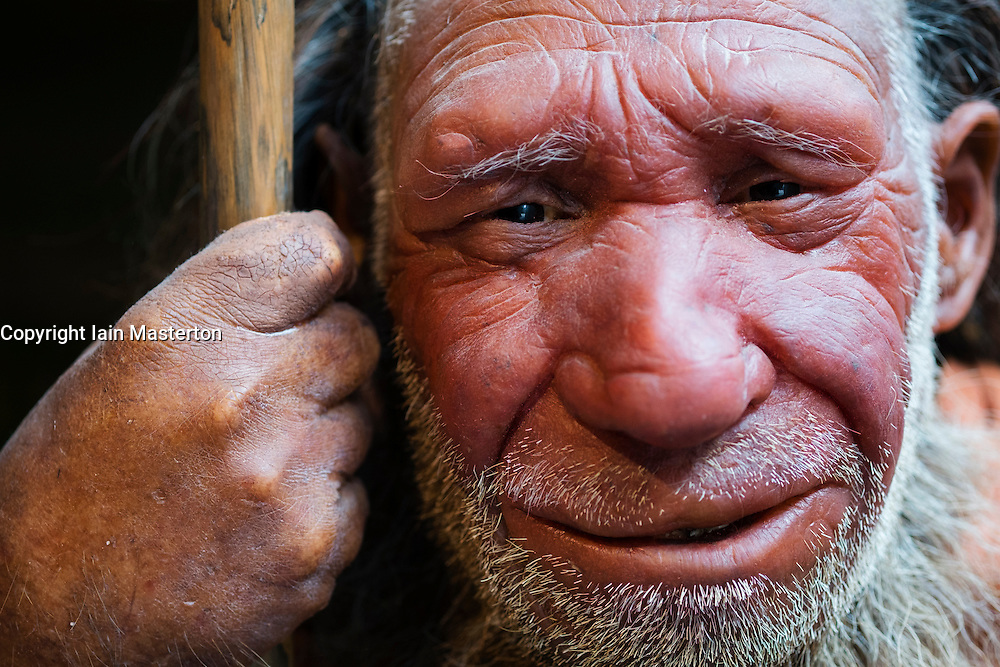 Neanderthal man on display at Neanderthal Museum in Mettmann Germany