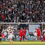 Besiktas's Jose Ernesto Sosa celebrate his goal with team mate during their Turkish superleague soccer match Besiktas between Gaziantepspor at Osmanli Stadium in Ankara Turkey on Sunday 10 May 2015. Photo by Aykut AKICI/TURKPIX