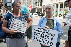 Members of North-West Cambridgeshire and Peterborough CLPs hold signs at a protest lobby by left-wing Labour Party groups outside the party's headquarters on 20th July 2021 in London, United Kingdom. The lobby was organised to coincide with a Labour Party National Executive Committee meeting during which it was asked to proscribe four organisations, Resist, Labour Against the Witchhunt, Labour In Exile and Socialist Appeal, members of which could then be automatically expelled from the Labour Party.