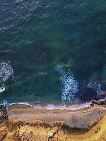 Aerial view of an empty beach in San Diego, California, USA.