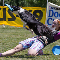 Participant competes during the Flydogs Extreme Distance Frisbee European Championships held in  Budapest, Hungary. Saturday, 16. June 2012. ATTILA VOLGYI