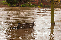 © Licensed to London News Pictures. 21/02/2021.Hereford, Herefordshire, UK. The river Wye bursts it's banks at Hereford in Herefordshire, UK. Photo credit: Graham M. Lawrence/LNP