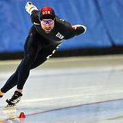 September 18, 2010 - Kearns, Utah - Mike Blumel races in long track speedskating time-trials held at the Utah Olympic Oval.