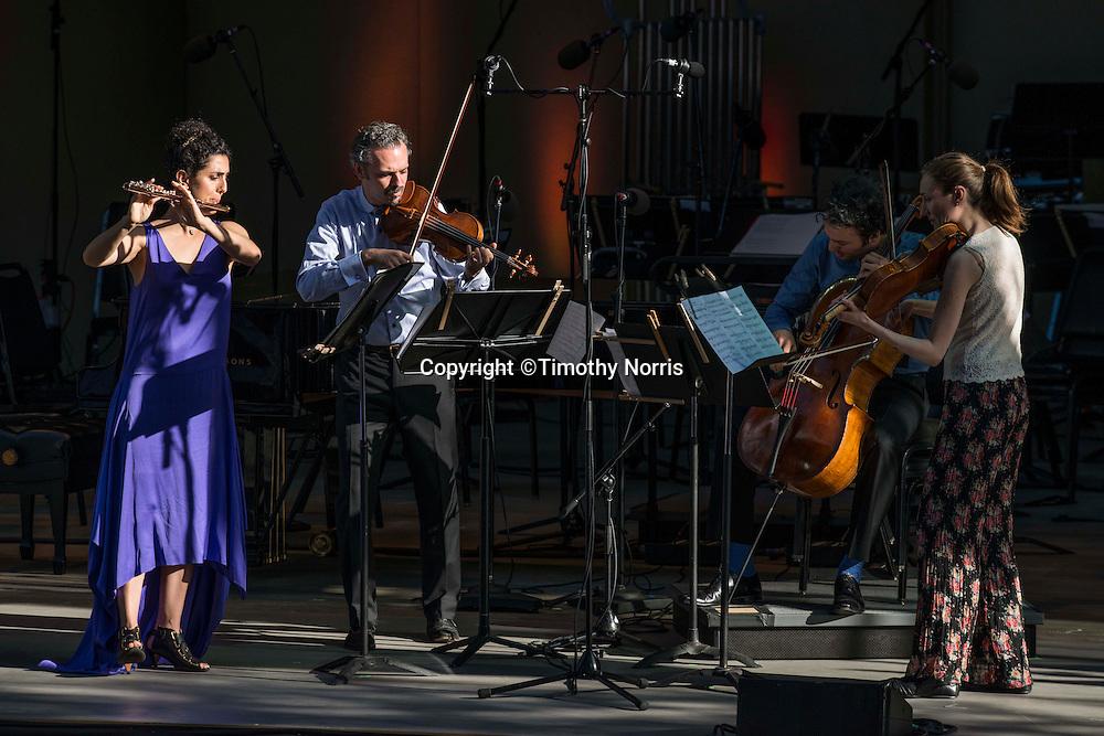 "Alex Sopp (flute), Colin Jacobsen (violin), Eric Jacobsen (cello), and Miranda Sielaff (viola) perform Andrew Norman's ""Light Screens"" at the 68th Ojai Music Festival at Libbey Bowl on June 14, 2014 in Ojai, California."