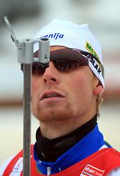 Slovenian athlete Klemen Bauer at Men 20 km Individual at E.ON Ruhrgas IBU World Cup Biathlon in Hochfilzen (replacement Pokljuka), on December 18, 2008, in Hochfilzen, Austria. (Photo by Vid Ponikvar / Sportida)