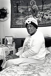 Portrait of an elderly woman in residential home, Nottingham, UK 1990