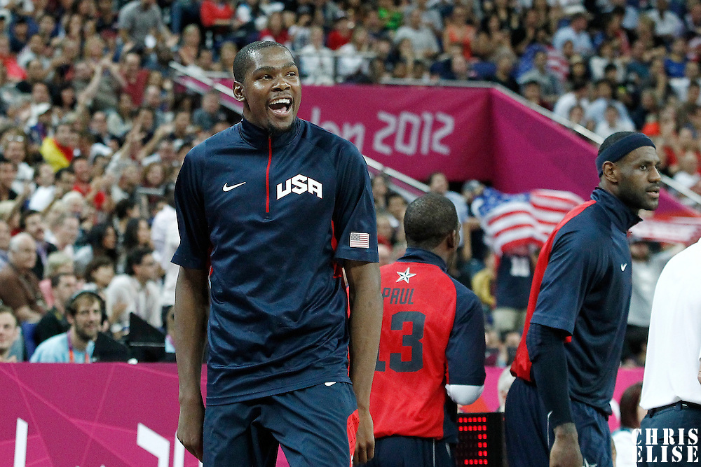 10 August 2012: USA Kevin Durant celebrates during 109-80 Team USA victory over Team Argentina, during the men's basketball semi-finals, at the North Greenwich Arena, in London, Great Britain.