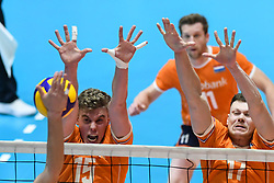 02-01-2020 SLO: Slovenia - Netherlands, Maribor<br /> Gijs van Solkema #15 of Netherlands, Michael Parkinson #17 of Netherlands during friendly volleyball match between National Men teams of Slovenia and Netherlands