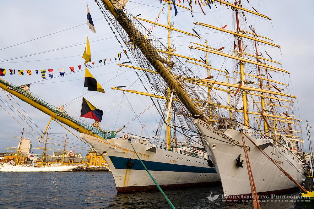 Norway, Stavanger. Tall Ships Race in Stavanger 2011. STS Mir and Dar Młodzieży.