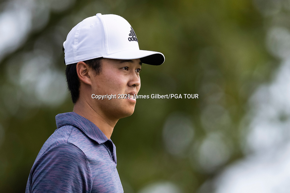 NEWBURGH, IN - SEPTEMBER 03: Brandon Wu looks on from the 18th tee during the second round of the Korn Ferry Tour Championship presented by United Leasing and Financing at Victoria National Golf Club on September 3, 2021 in Newburgh, Indiana. (Photo by James Gilbert/PGA TOUR via Getty Images)