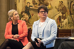 © Licensed to London News Pictures  . 03/10/2017 . Manchester , UK . MICHELLE O'NEILL , leader of Sinn Fein and ARLENE FOSTER MLA , leader of the Democratic Unionist Party ( DUP ) in front of The Proclamation Regarding Weights and Measures mural by Ford Madox Brown at a fringe event in the Great Hall in Manchester Town Hall during day three of the Conservative Party Conference at the Manchester Central Convention Centre . Photo credit : Joel Goodman/LNP