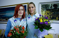 Nina Kolaric and Snezana Rodic at welcome press conference after European Athletics Indoor Championships Torino 2009, AZS, Ljubljana, Slovenia, on March 9, 2009. (Photo by Vid Ponikvar / Sportida)
