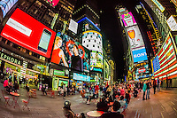 Some of the brightest video screens in the world make nighttime in Times Square like daylight, New York, New York USA.