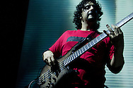 Bassist Alonso Arreola performing in concert. January 27, 2012. Mexico City, Mexico.