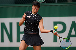 May 23, 2019 - Paris, FRANCE - Xiyu Wang of China in action during the second qualifications round at the 2019 Roland Garros Grand Slam tennis tournament (Credit Image: © AFP7 via ZUMA Wire)