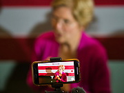 """16 NOVEMBER 2019 - WAVERLY, IOWA: US Senator ELIZABETH WARREN (D-MA), answers reporters' questions in the press """"gaggle"""" after her campaign speech at Wartburg College. Sen. Warren campaigned at Wartburg College in Waverly Saturday afternoon. She is running to be the Democratic candidate for the US Presidency in the 2020 election. Iowa hosts the first selection event of the presidential election season. The Iowa caucuses are February 3, 2020.           PHOTO BY JACK KURTZ"""