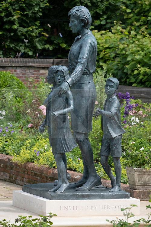 © Licensed to London News Pictures. 02/07/2021. London, UK. The new statue of the late Princess Diana in the new landscaped Sunken Garden of Kensington Gardens. Photo credit: London News Pictures.