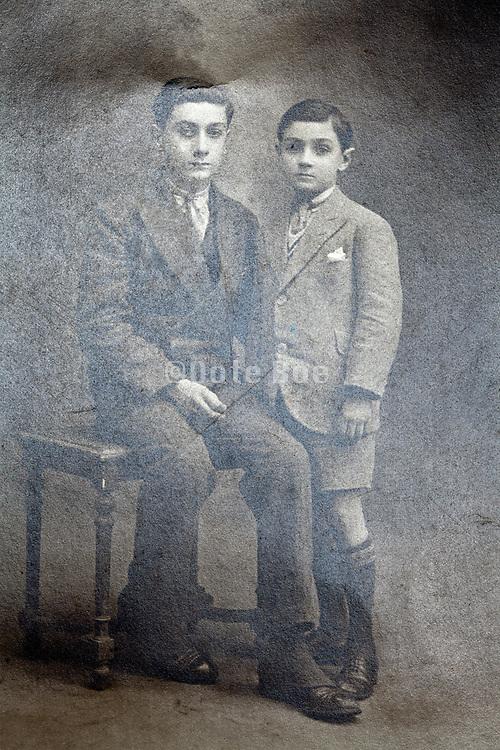 classic vintage studio portrait with two boys