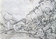 Sarmigstein on the Danube'.  Albrecht Altdorfer (1480-1538) German painter, engraverand  architect: Danube School. Pen and grey ink.