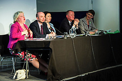 Pictured: Kath Gordon (Lib Dem), Marco Biagi (SNP), Monica Lennon (Labour), Ian McGill (Conservatives) and Maggie Chapman (Co-convenor of the Scottish Greens) <br /> <br /> Candidates from the five main parties faced questions at the Building Scotland's Future election hustings today. The panalists, Kath Gordon (Lib Dem), Marco Biagi (SNP), Monica Lennon (Labour), Ian McGill (Conservatives) and Maggie Chapman (Co-convenor of the Scottish Greens) were quizzed on issued affecting infrastructure and the build environment.  <br /> <br /> Ger Harley | EEm 19 April 2016