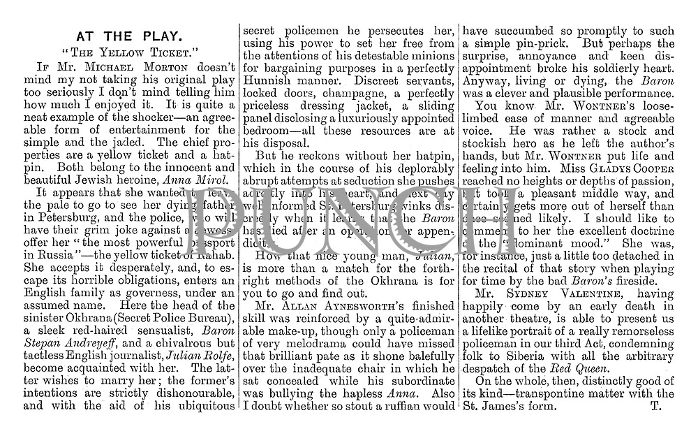 """At the Play: """"The Yellow Ticket."""" (Review)"""