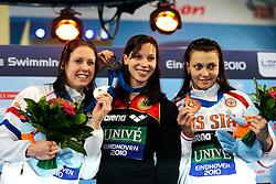 25.11.2010, Pieter van den Hoogenband Zwemstadion, Eindhoven, NED, Kurzbahn Schwimm EM, im Bild ..Women 50m Breaststroke podium.Moniek NIJHUIS NED Silver, Dorothea BRANDT GER Gold, Valentina ARTEMYEVA Russia Bronze // Eindhoven 25/11/2010 .European Short Course Swimming Championships, EXPA/ InsideFoto/ Staccioli+++++ ATTENTION - FOR AUSTRIA/AUT, SLOVENIA/SLO, SERBIA/SRB an CROATIA/CRO CLIENT ONLY +++++ / SPORTIDA
