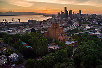 Pacific Medical Center (foreground), Beacon Hill & Seattle Skyline