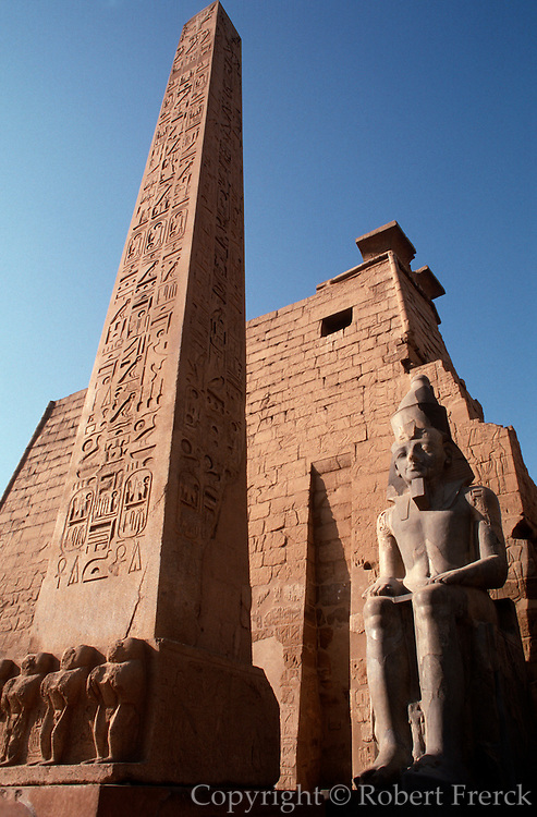 EGYPT, THEBES, LUXOR TEMPLE obelisk, Great Pylon, Ramses II statue