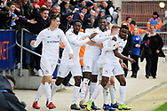 Coventry City forward Amadou Bakayoko celebrates his and Coventry's second goal 0-2 during the EFL Sky Bet League 1 match between Peterborough United and Coventry City at London Road, Peterborough, England on 16 March 2019.